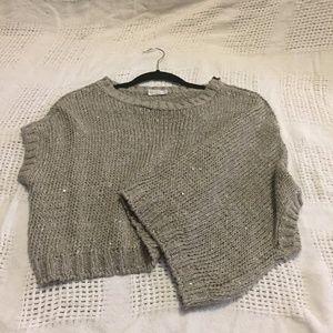 Brunello Cucinelli Sequin Asymm Silk Crop Sweater